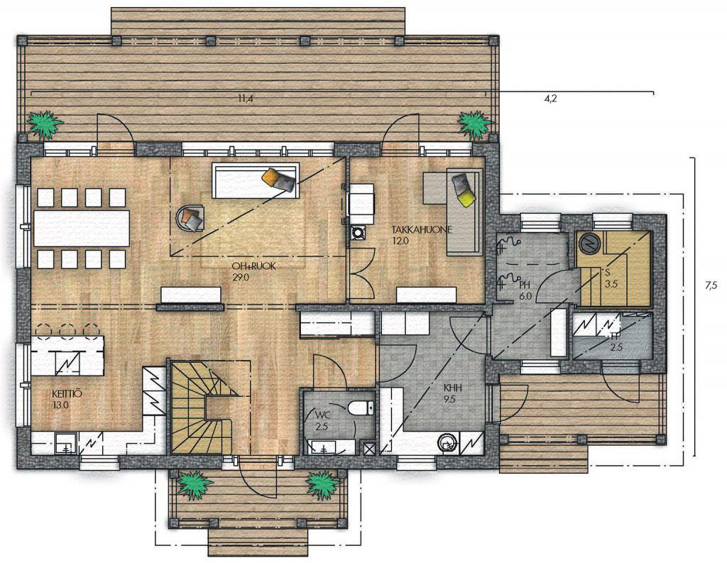 Вариант планировки каркасного дома
