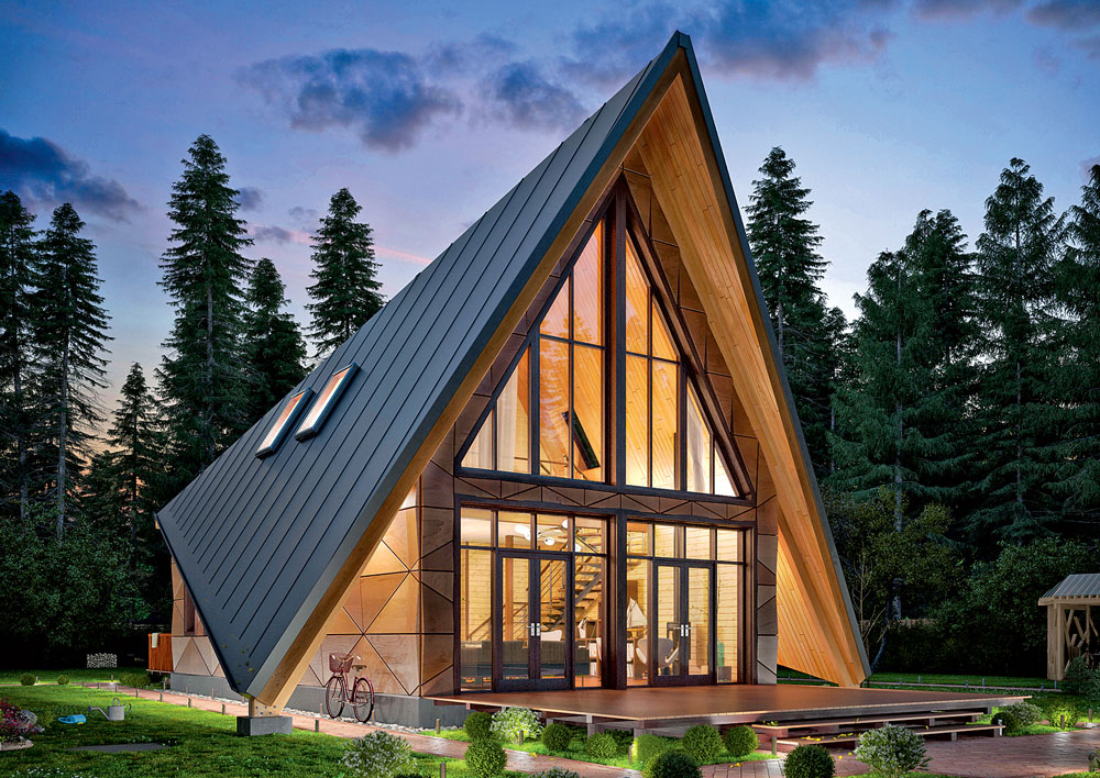 Проект двухскатного каркасного дома